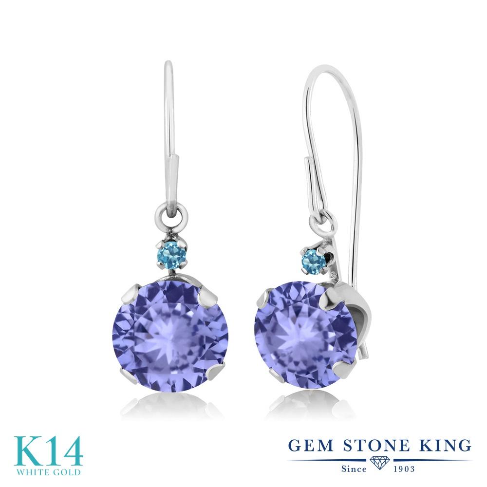 Gem Stone King 1.84カラット 天然石 タンザナイト シミュレイテッド スカイブルートパーズ 14金 ホワイトゴールド(K14) ピアス レディース ぶら下がり アメリカン 揺れる 天然石 12月 誕生石 金属アレルギー対応 誕生日プレゼント