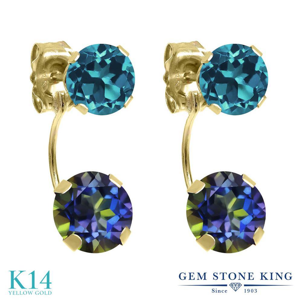 Gem Stone King 2.7カラット 天然石 ミスティックトパーズ (ブルー) 天然 ロンドンブルートパーズ 14金 イエローゴールド(K14) ピアス レディース ぶら下がり 天然石 金属アレルギー対応 誕生日プレゼント
