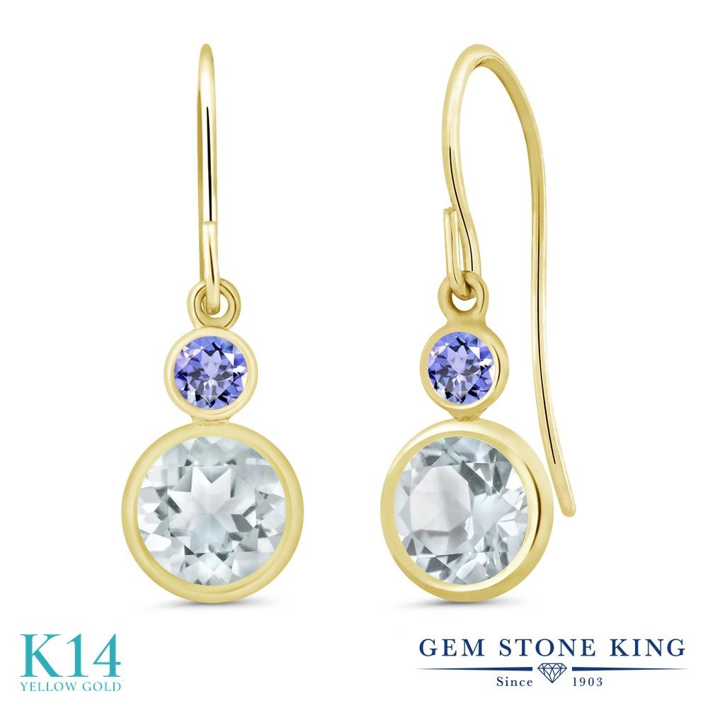 Gem Stone King 1.74カラット 天然 アクアマリン 天然石 タンザナイト 14金 イエローゴールド(K14) ピアス レディース ぶら下がり フレンチワイヤー 天然石 3月 誕生石 金属アレルギー対応 誕生日プレゼント