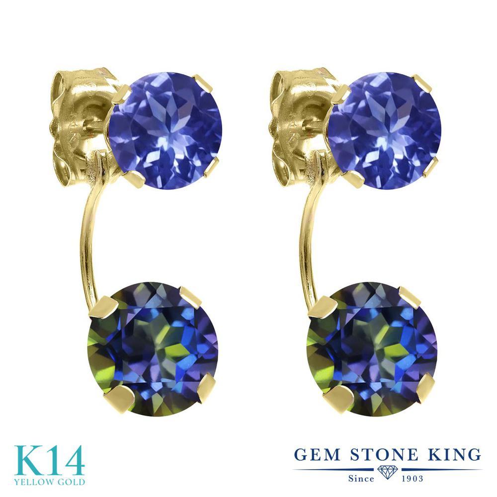 Gem Stone King 2.52カラット 天然石 ミスティックトパーズ (ブルー) 天然石 タンザナイト 14金 イエローゴールド(K14) ピアス レディース ぶら下がり 天然石 金属アレルギー対応 誕生日プレゼント