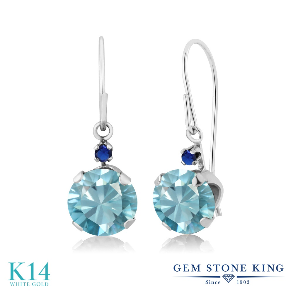 Gem Stone King 2.43カラット 天然石 ブルージルコン シミュレイテッド サファイア 14金 ホワイトゴールド(K14) ピアス レディース 大粒 ぶら下がり アメリカン 揺れる 天然石 12月 誕生石 金属アレルギー対応 誕生日プレゼント