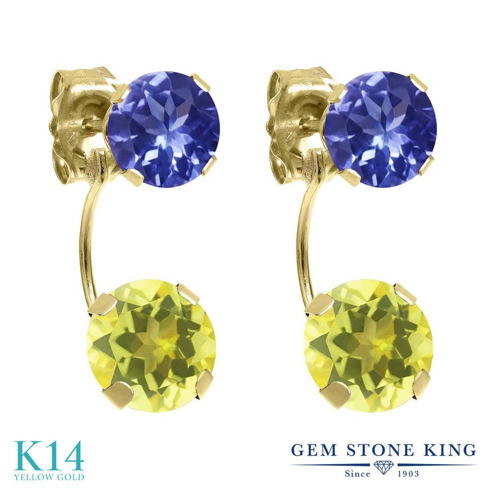 Gem Stone King 2.92カラット 天然石 ミスティックトパーズ (イエロー) 天然石 タンザナイト 14金 イエローゴールド(K14) ピアス レディース 大粒 ぶら下がり 天然石 金属アレルギー対応 誕生日プレゼント