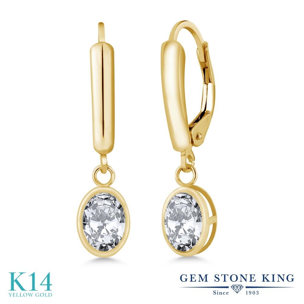 Gem Stone King ジルコニア(無色透明) 14金 イエローゴールド(K14) ピアス レディース CZ 大粒 シンプル ぶら下がり レバーバック 金属アレルギー対応 誕生日プレゼント
