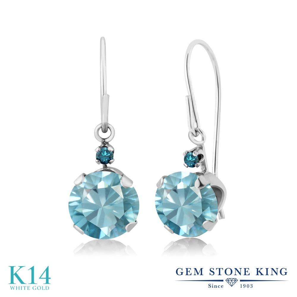 Gem Stone King 2.43カラット 天然石 ブルージルコン 天然 ブルーダイヤモンド 14金 ホワイトゴールド(K14) ピアス レディース 大粒 ぶら下がり アメリカン 揺れる 天然石 12月 誕生石 金属アレルギー対応 誕生日プレゼント