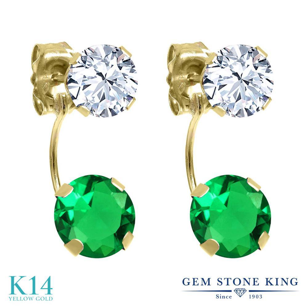 Gem Stone King 2.74カラット ナノエメラルド 天然 トパーズ (無色透明) 14金 イエローゴールド(K14) ピアス レディース ぶら下がり 金属アレルギー対応 誕生日プレゼント