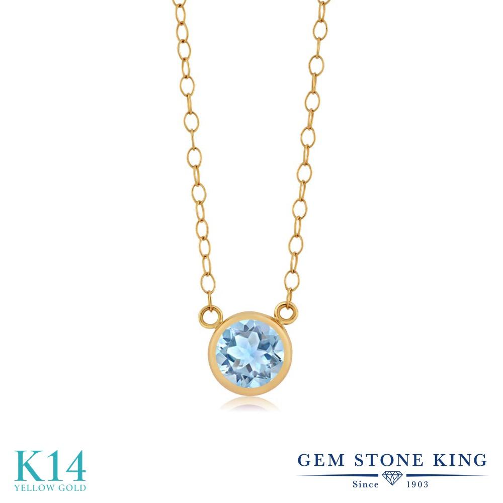 Gem Stone King 0.45カラット 天然 アクアマリン 14金 イエローゴールド(K14) ネックレス ペンダント レディース 小粒 一粒 シンプル 天然石 3月 誕生石 金属アレルギー対応 誕生日プレゼント