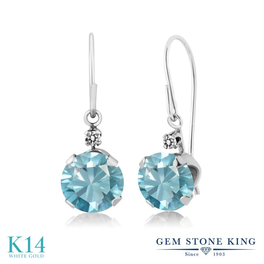 Gem Stone King 2.43カラット 天然石 ブルージルコン 天然 ダイヤモンド 14金 ホワイトゴールド(K14) ピアス レディース 大粒 ぶら下がり アメリカン 揺れる 天然石 12月 誕生石 金属アレルギー対応 誕生日プレゼント