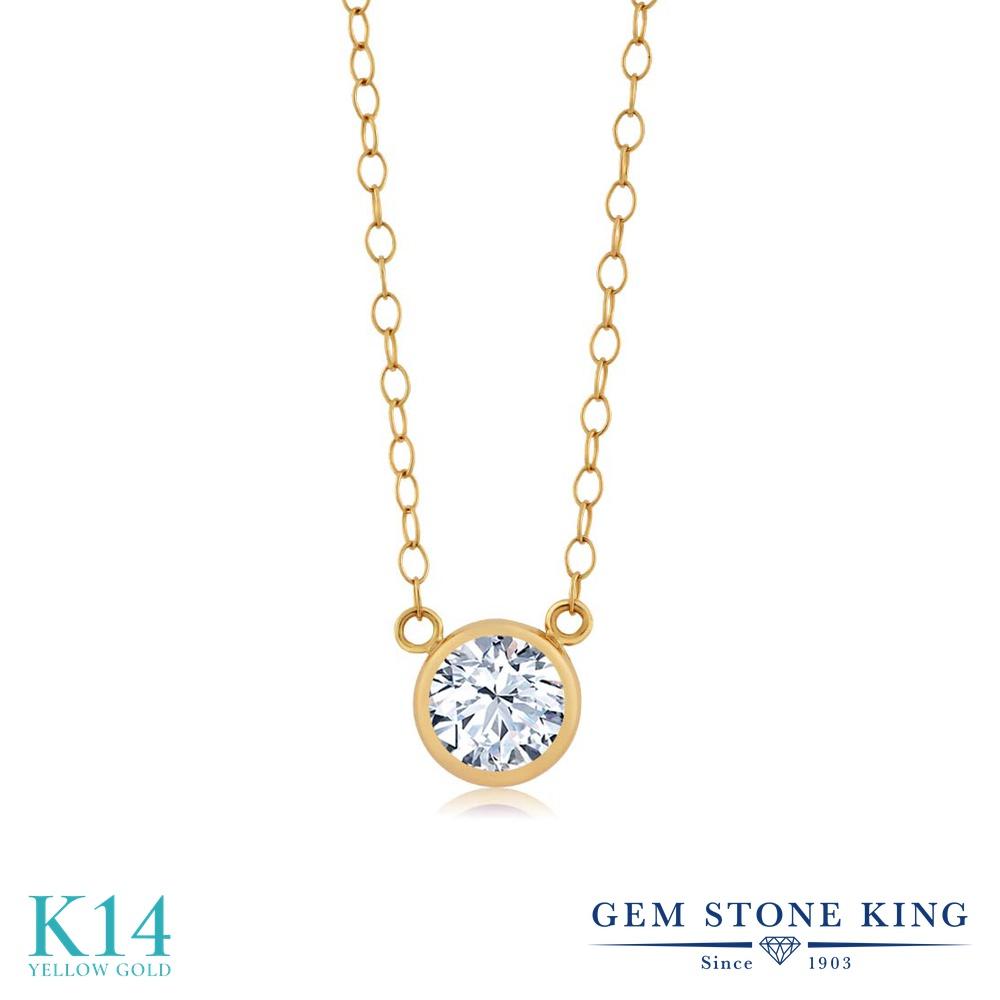 Gem Stone King ジルコニア (無色透明) 14金 イエローゴールド(K14) ネックレス ペンダント レディース CZ 一粒 シンプル 金属アレルギー対応 誕生日プレゼント