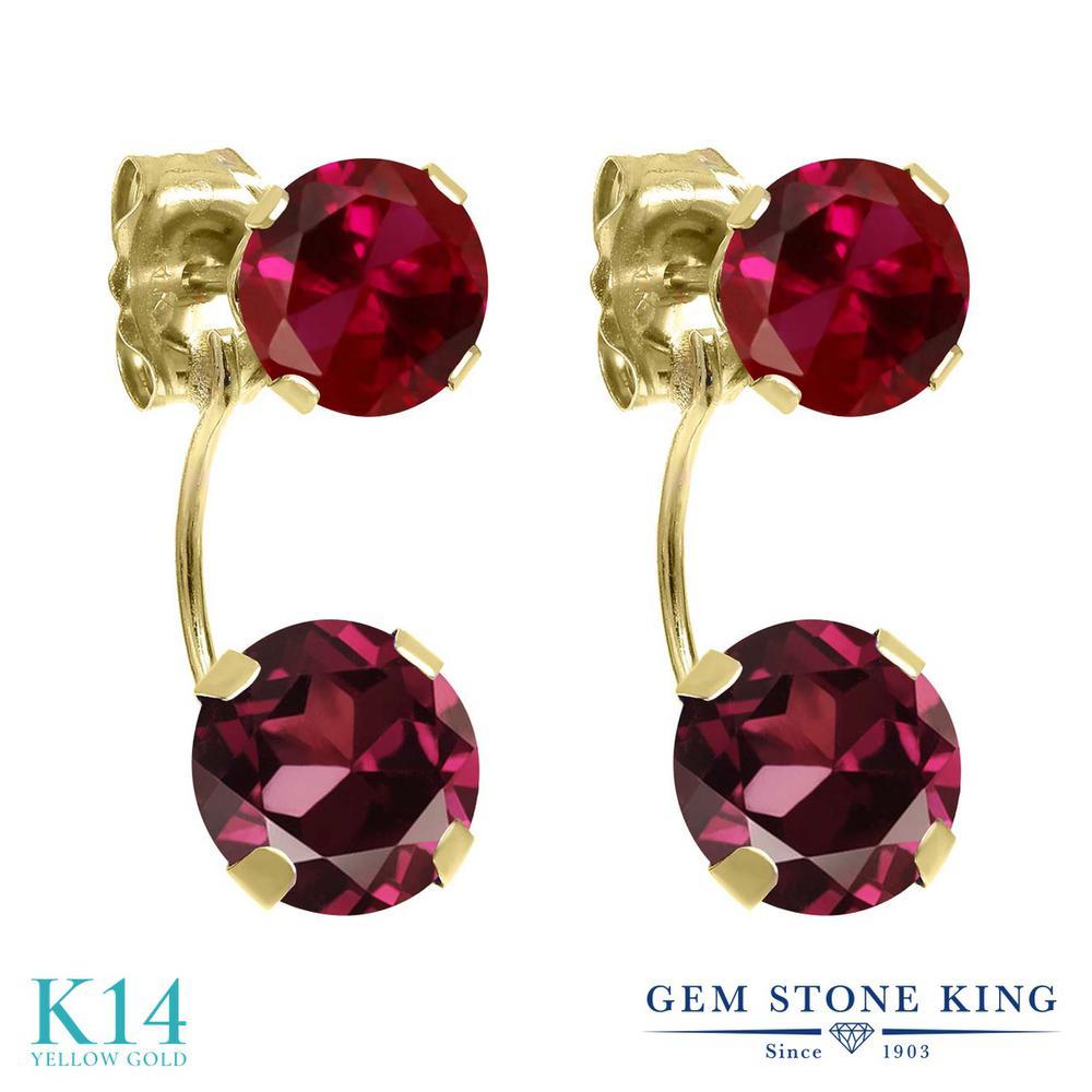 Gem Stone King 3.2カラット 天然 ロードライトガーネット 14金 イエローゴールド(K14) ピアス レディース 大粒 ぶら下がり 天然石 金属アレルギー対応 誕生日プレゼント