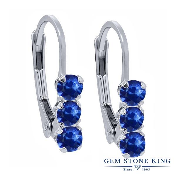 Gem Stone King 0.78カラット 天然 サファイア シルバー925 ピアス レディース 小粒 スリーストーン ぶら下がり レバーバック 華奢 細身 天然石 9月 誕生石 金属アレルギー対応 誕生日プレゼント