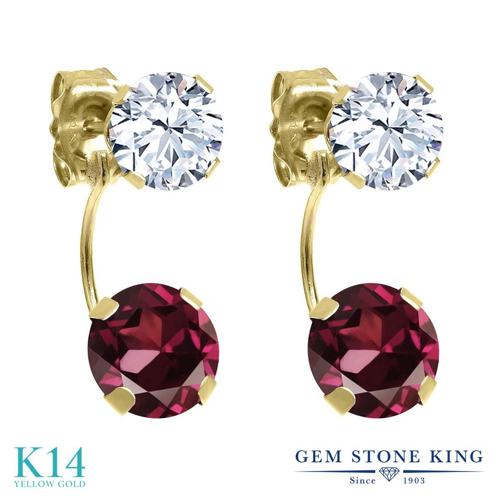 Gem Stone King 3.5カラット 天然 ロードライトガーネット 14金 イエローゴールド(K14) ピアス レディース 大粒 ぶら下がり 天然石 金属アレルギー対応 誕生日プレゼント