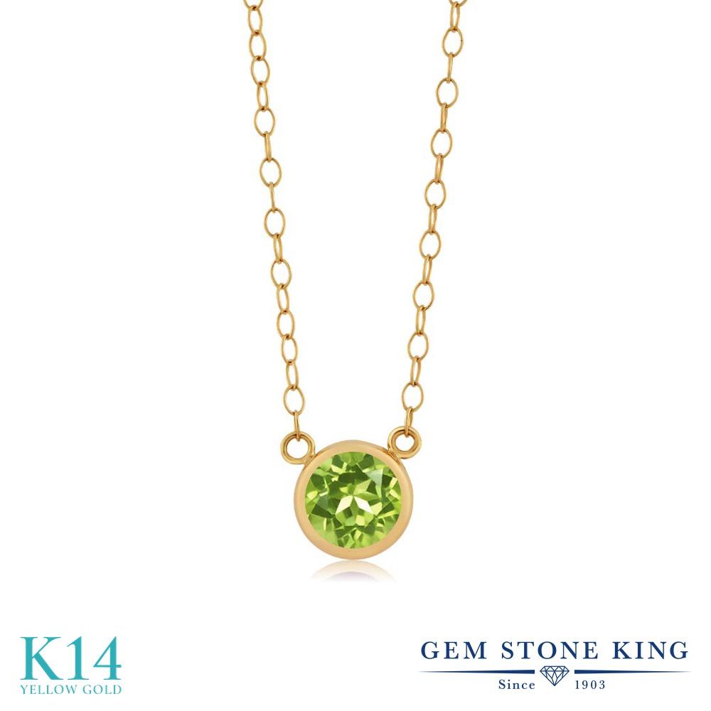 Gem Stone King 0.6カラット 天然石 ペリドット 14金 イエローゴールド(K14) ネックレス ペンダント レディース 一粒 シンプル 天然石 8月 誕生石 金属アレルギー対応 誕生日プレゼント