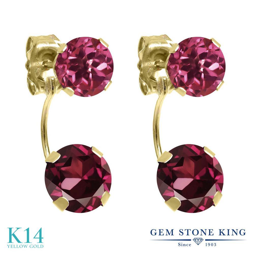 Gem Stone King 3カラット 天然 ロードライトガーネット 天然 ピンクトルマリン 14金 イエローゴールド(K14) ピアス レディース 大粒 ぶら下がり 天然石 金属アレルギー対応 誕生日プレゼント