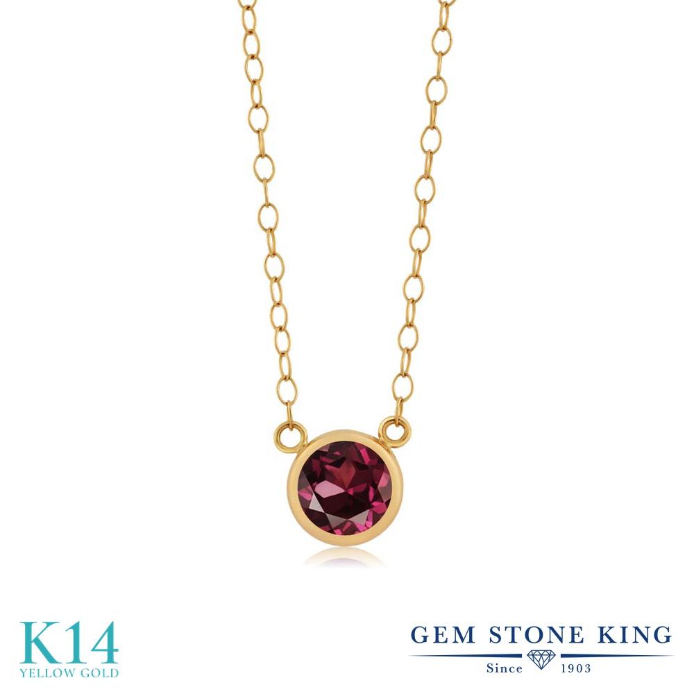 Gem Stone King 0.64カラット 天然 ロードライトガーネット 14金 イエローゴールド(K14) ネックレス ペンダント レディース 一粒 シンプル 天然石 金属アレルギー対応 誕生日プレゼント