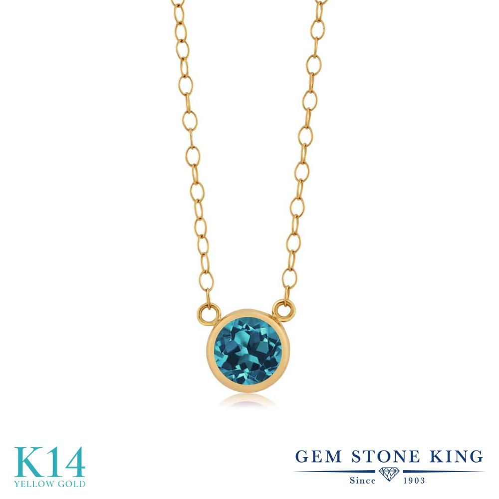 Gem Stone King 0.55カラット 天然 ロンドンブルートパーズ 14金 イエローゴールド(K14) ネックレス ペンダント レディース 一粒 シンプル 天然石 11月 誕生石 金属アレルギー対応 誕生日プレゼント