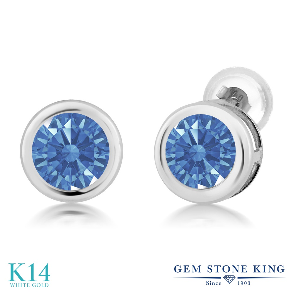 Gem Stone King スワロフスキージルコニア (ファンシーブルー) 14金 ホワイトゴールド(K14) ピアス レディース CZ シンプル スタッド 金属アレルギー対応 誕生日プレゼント