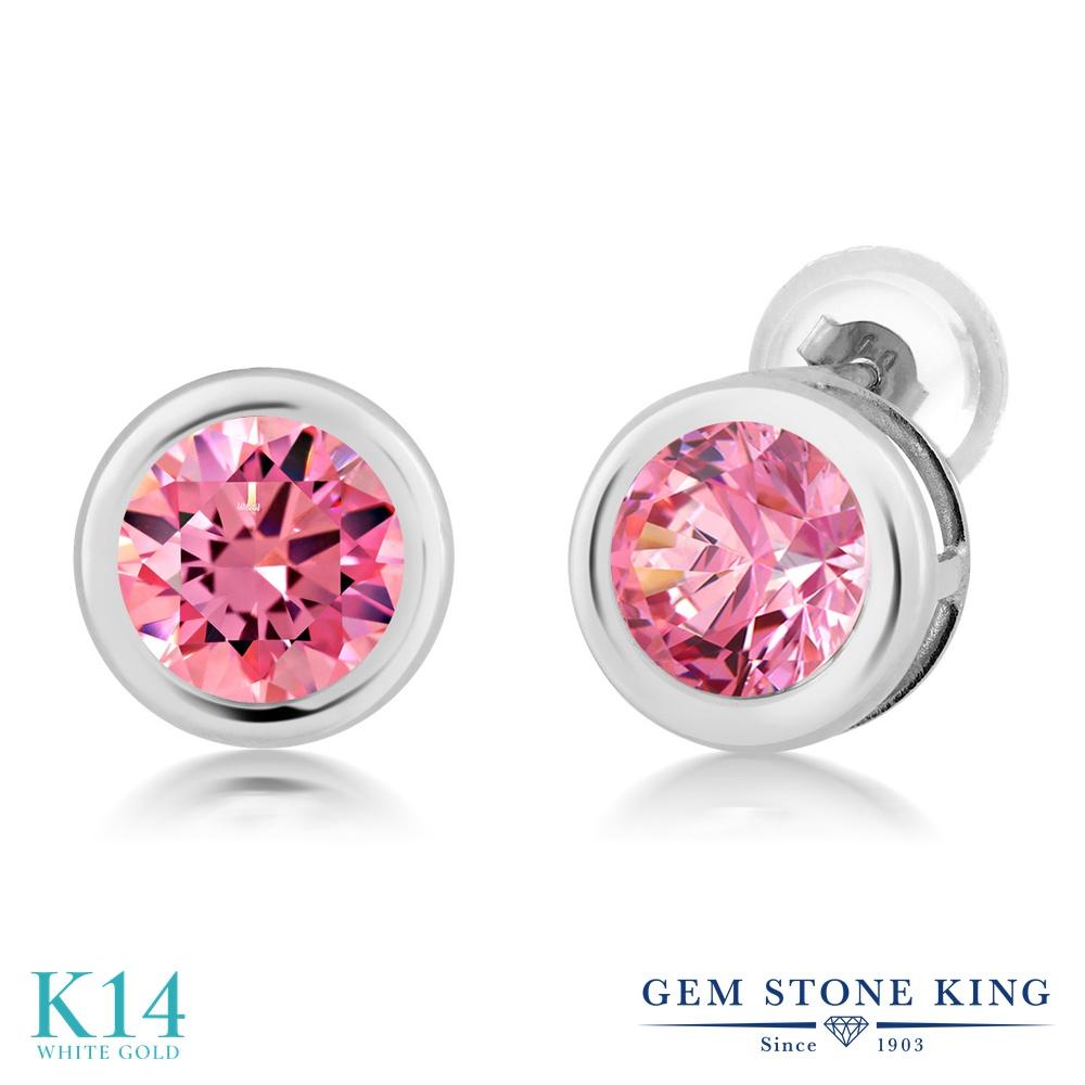 Gem Stone King スワロフスキージルコニア (ファンシーピンク) 14金 ホワイトゴールド(K14) ピアス レディース CZ シンプル スタッド 金属アレルギー対応 誕生日プレゼント