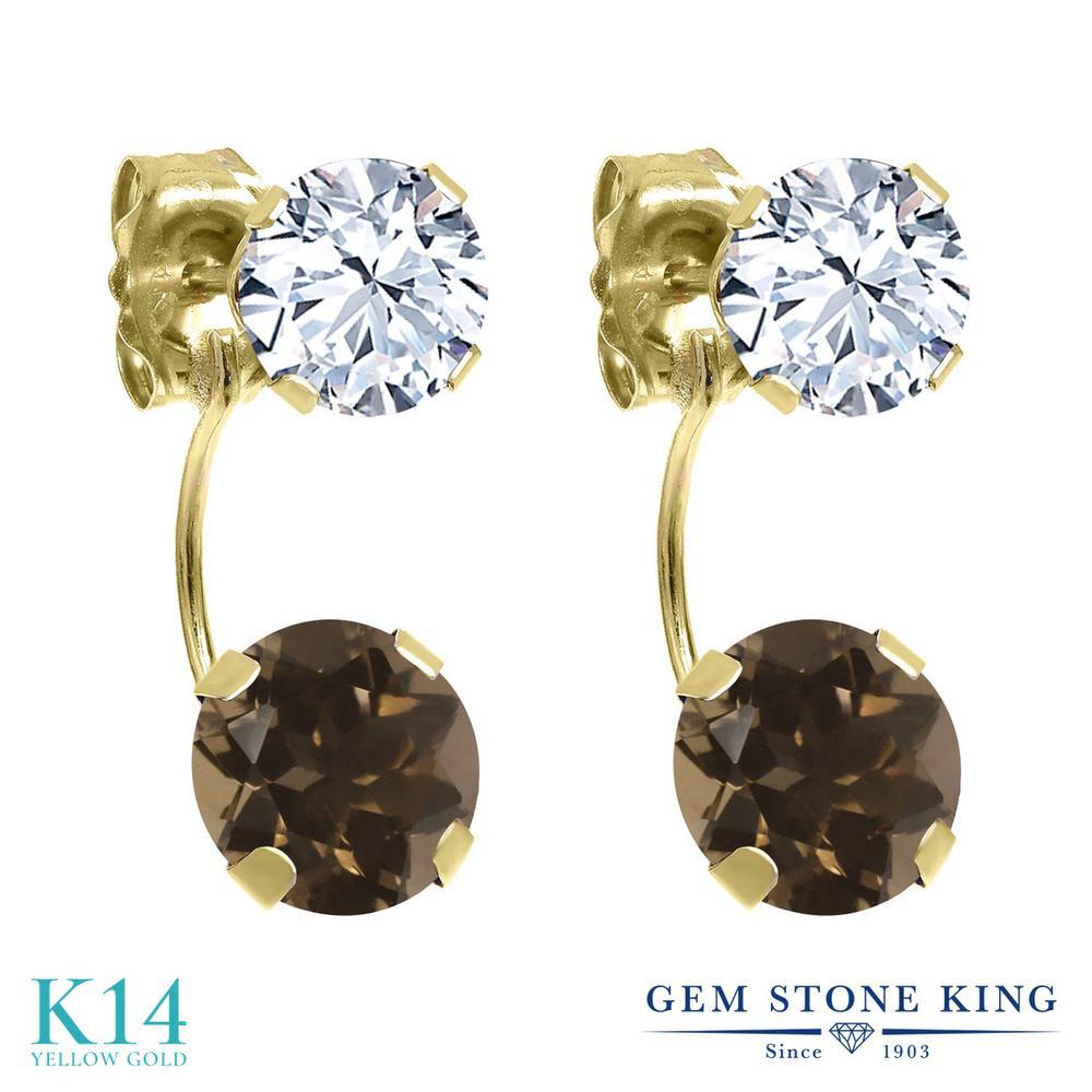 Gem Stone King 2.8カラット 天然 スモーキークォーツ (ブラウン) 天然 トパーズ (無色透明) 14金 イエローゴールド(K14) ピアス レディース ぶら下がり 天然石 金属アレルギー対応 誕生日プレゼント