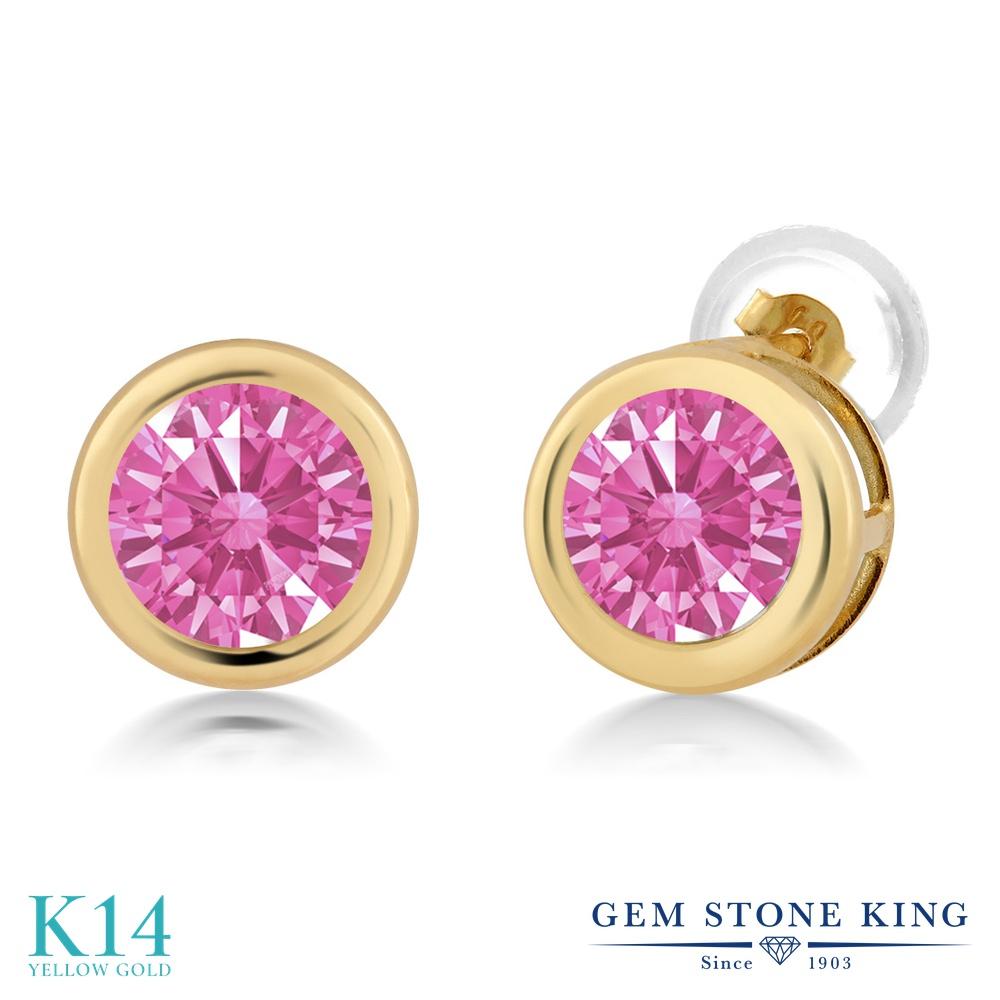 Gem Stone King スワロフスキージルコニア (ピンク) 14金 イエローゴールド(K14) ピアス レディース CZ シンプル スタッド 金属アレルギー対応 誕生日プレゼント