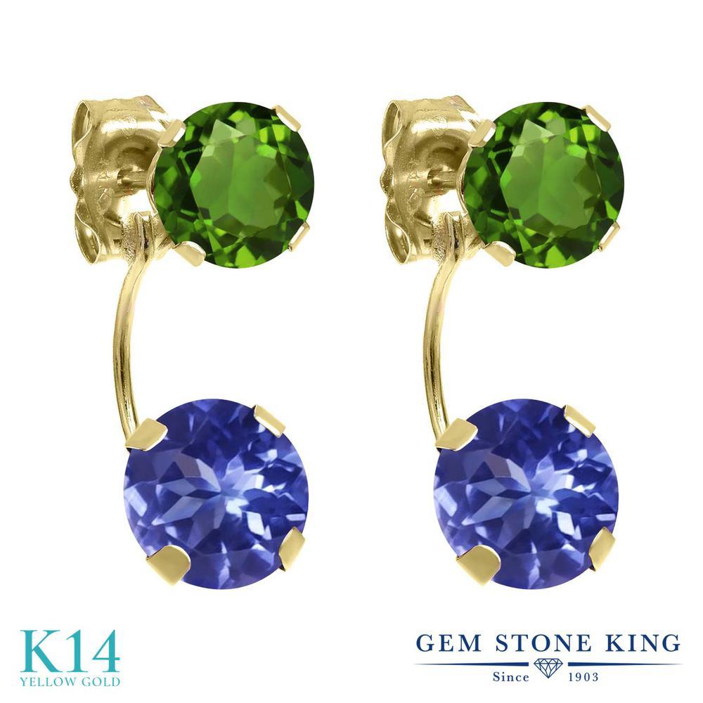 Gem Stone King 2.8カラット 天然石 タンザナイト 天然 クロムダイオプサイド 14金 イエローゴールド(K14) ピアス レディース ぶら下がり 天然石 12月 誕生石 金属アレルギー対応 誕生日プレゼント