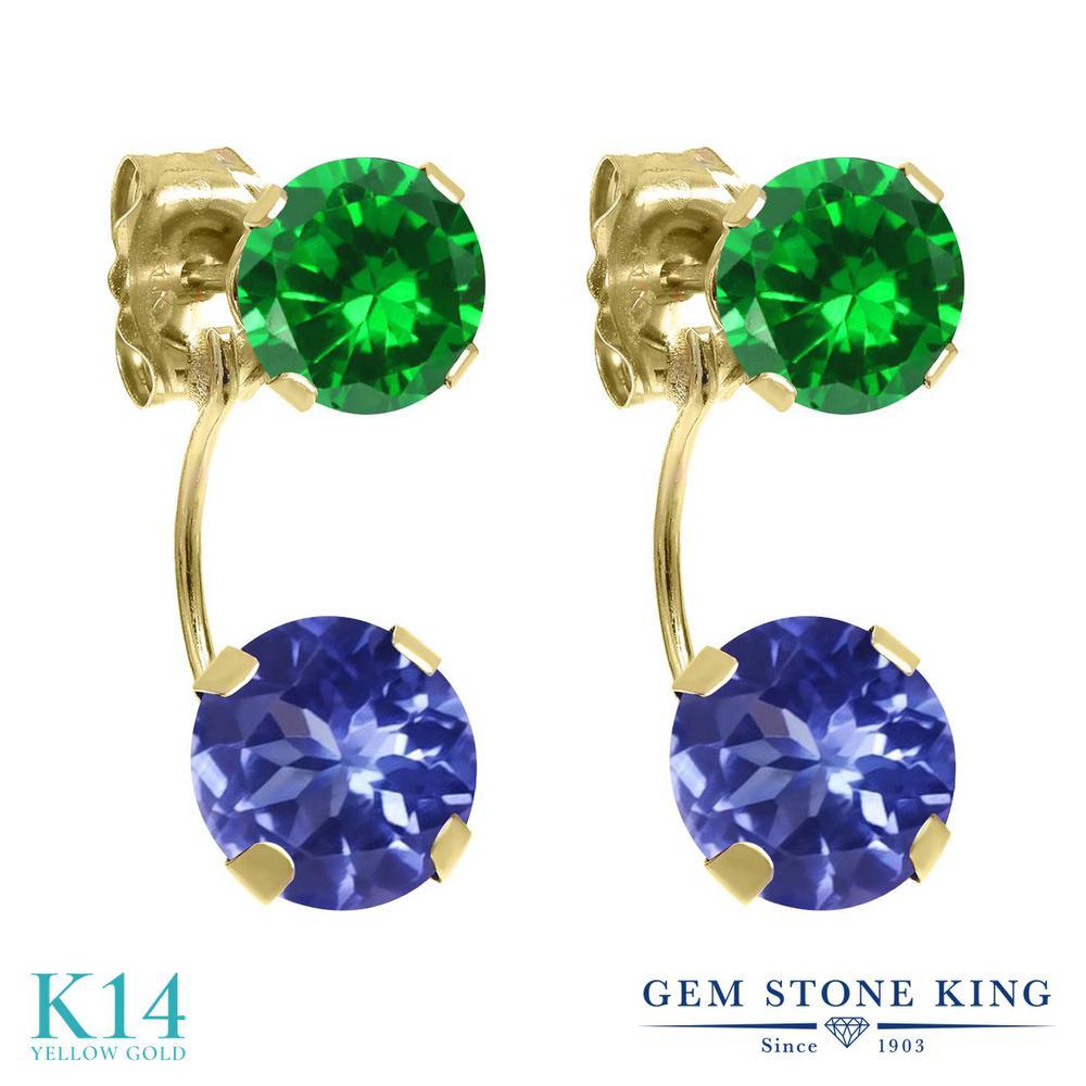 Gem Stone King 3.48カラット 天然石 タンザナイト 14金 イエローゴールド(K14) ピアス レディース ぶら下がり 天然石 12月 誕生石 金属アレルギー対応 誕生日プレゼント