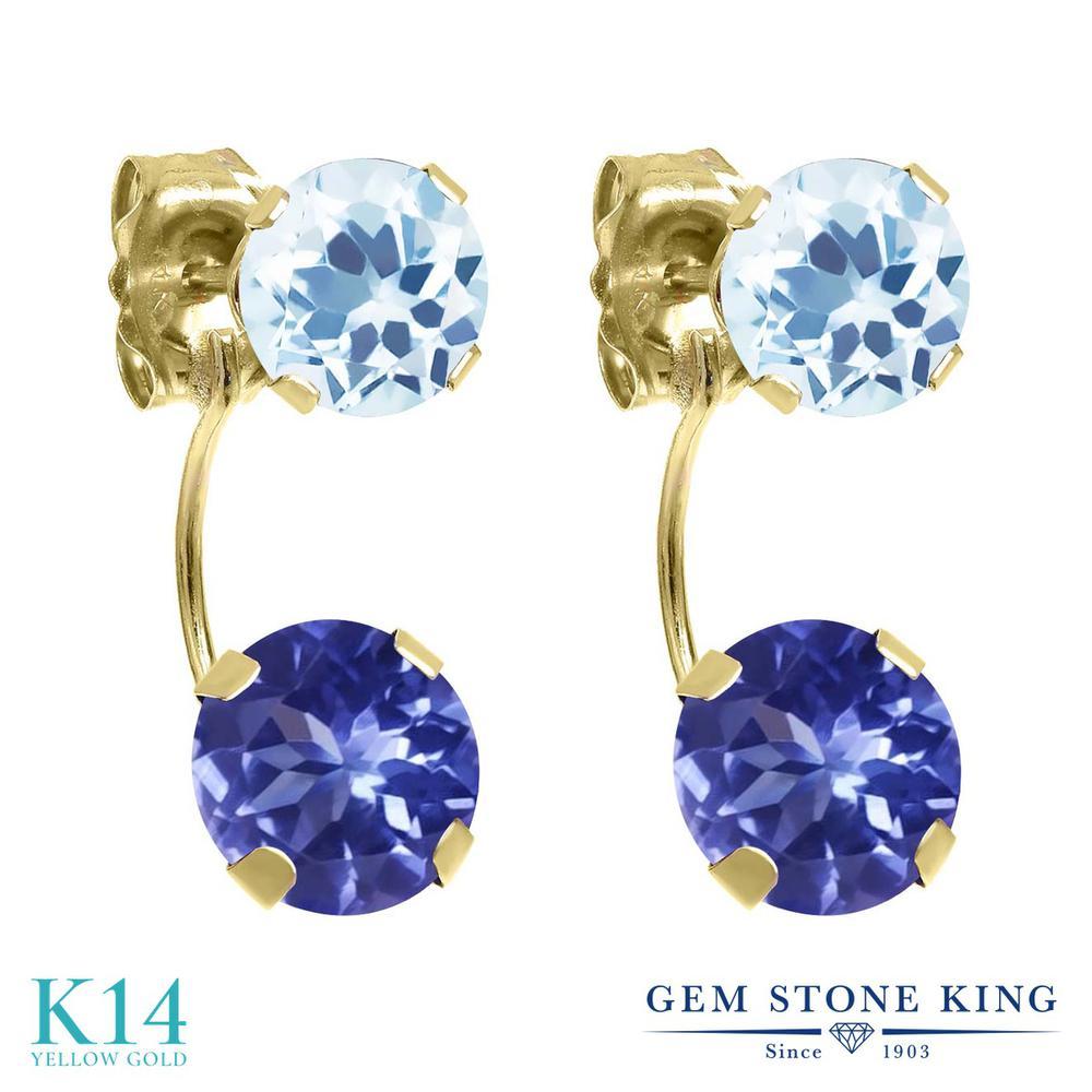 Gem Stone King 3.2カラット 天然石 タンザナイト 天然 スカイブルートパーズ 14金 イエローゴールド(K14) ピアス レディース ぶら下がり 天然石 12月 誕生石 金属アレルギー対応 誕生日プレゼント