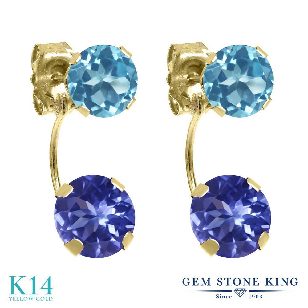 Gem Stone King 3カラット 天然石 タンザナイト 天然 スイスブルートパーズ 14金 イエローゴールド(K14) ピアス レディース ぶら下がり 天然石 12月 誕生石 金属アレルギー対応 誕生日プレゼント