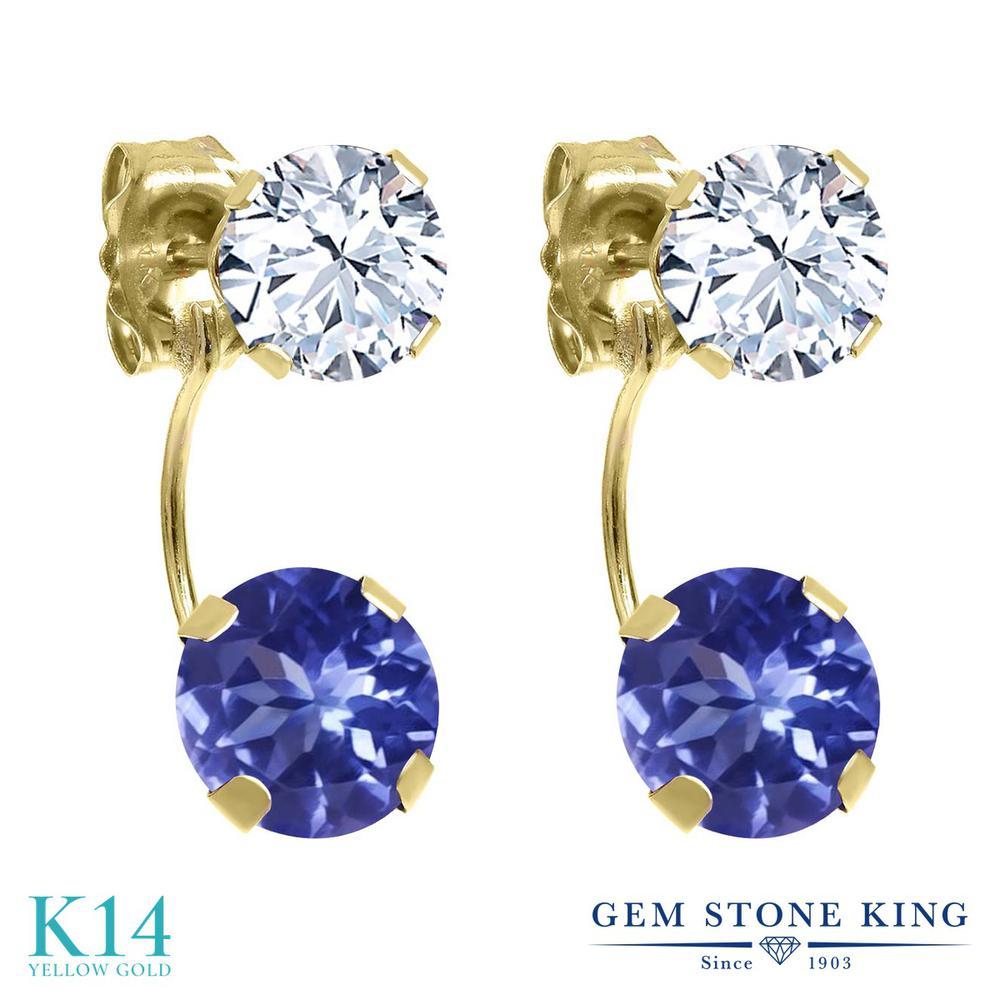 Gem Stone King 3カラット 天然石 タンザナイト 天然 トパーズ (無色透明) 14金 イエローゴールド(K14) ピアス レディース ぶら下がり 天然石 12月 誕生石 金属アレルギー対応 誕生日プレゼント