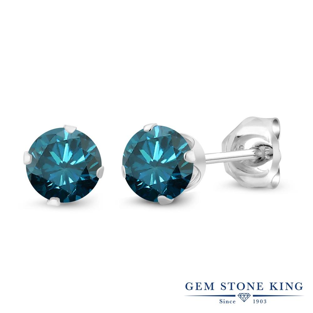 0.54カラット 天然 ブルーダイヤモンド ピアス レディース シルバー925 ブルー ダイヤ 小粒 シンプル スタッド 天然石 4月 誕生石 金属アレルギー対応