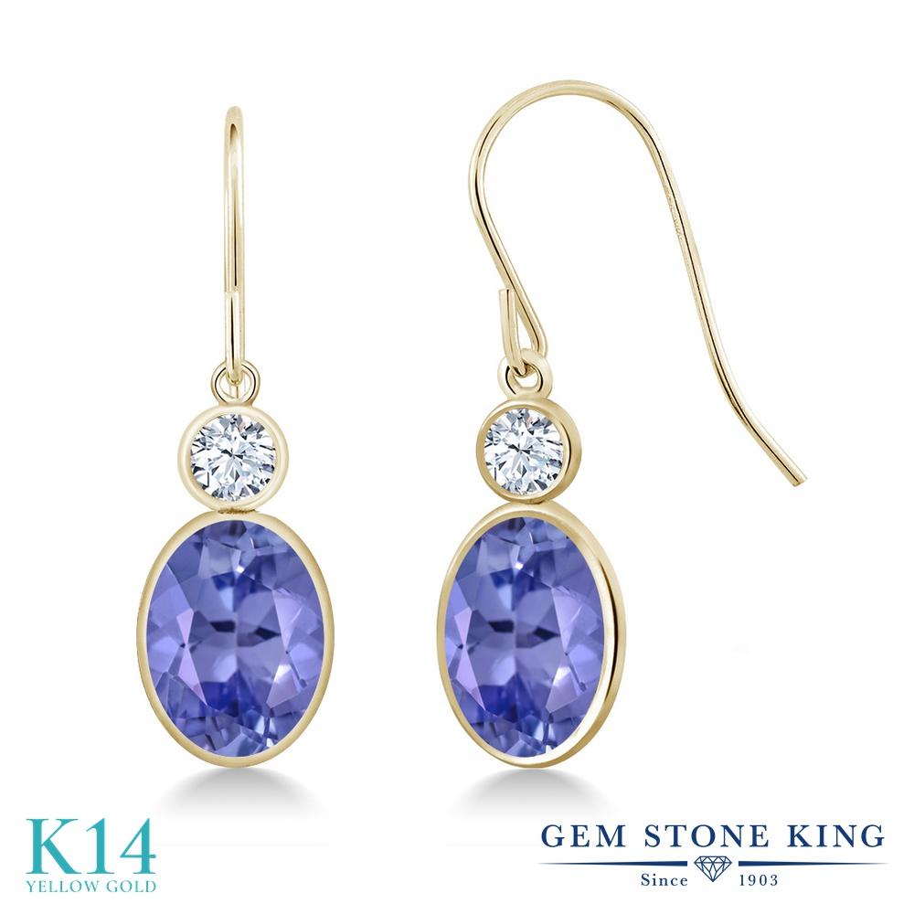 Gem Stone King 2.54カラット 天然石 タンザナイト 14金 イエローゴールド(K14) ピアス レディース 大粒 ぶら下がり フレンチワイヤー 天然石 12月 誕生石 金属アレルギー対応 誕生日プレゼント