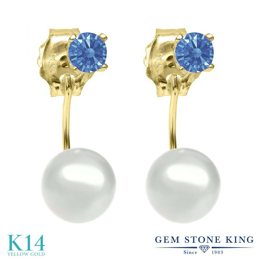Gem Stone King スワロフスキージルコニア(ファンシーブルー) 14金 イエローゴールド(K14) ピアス レディース CZ 小粒 シンプル ぶら下がり 金属アレルギー対応 誕生日プレゼント