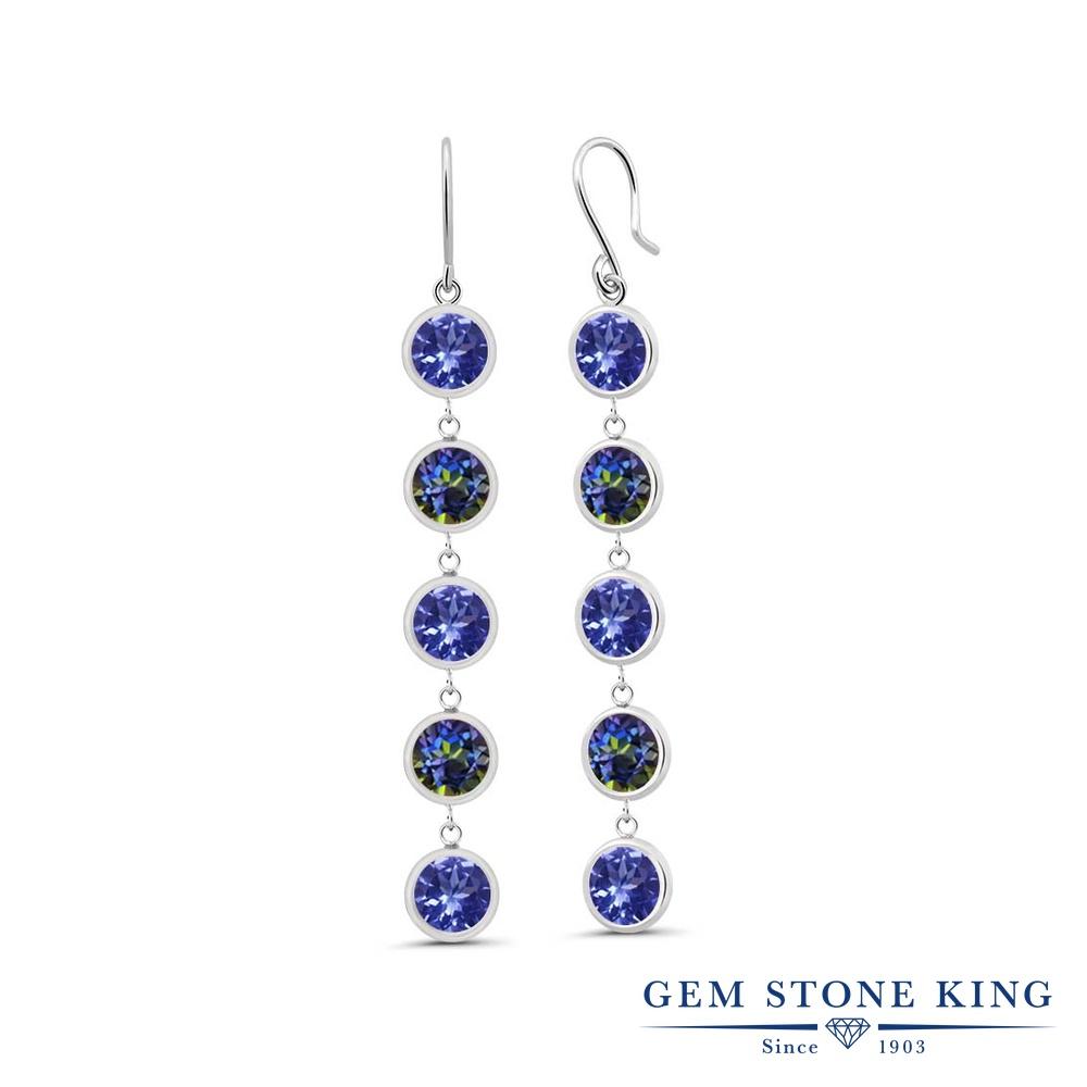 Gem Stone King 4.3カラット 天然石 タンザナイト 天然石 ミスティックトパーズ (ブルー) シルバー925 ピアス レディース ぶら下がり フレンチワイヤー 天然石 12月 誕生石 金属アレルギー対応 誕生日プレゼント