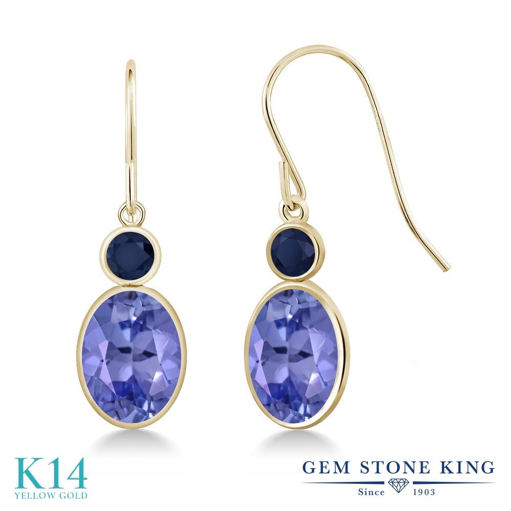 Gem Stone King 2.58カラット 天然石 タンザナイト 天然 サファイア 14金 イエローゴールド(K14) ピアス レディース 大粒 ぶら下がり フレンチワイヤー 天然石 12月 誕生石 金属アレルギー対応 誕生日プレゼント