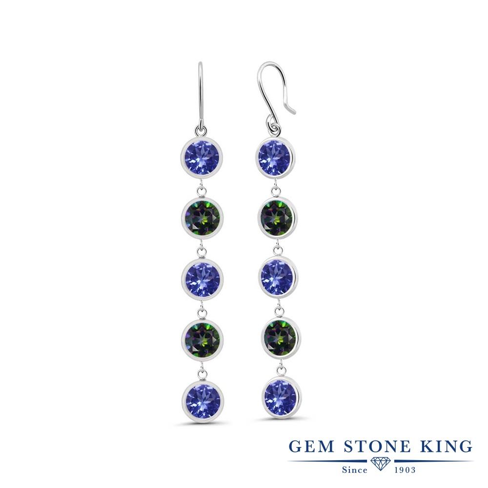 Gem Stone King 4.7カラット 天然石 タンザナイト 天然石 ミスティックトパーズ (グリーン) シルバー925 ピアス レディース ぶら下がり フレンチワイヤー 天然石 12月 誕生石 金属アレルギー対応 誕生日プレゼント