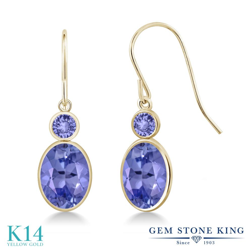 Gem Stone King 2.56カラット 天然石 タンザナイト 14金 イエローゴールド(K14) ピアス レディース 大粒 ぶら下がり フレンチワイヤー 天然石 12月 誕生石 金属アレルギー対応 誕生日プレゼント