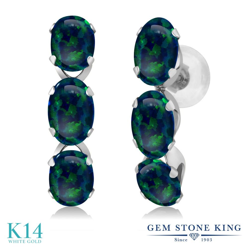 Gem Stone King 3カラット シミュレイテッド グリーンオパール 14金 ホワイトゴールド(K14) ピアス レディース 小粒 ぶら下がり 華奢 細身 10月 誕生石 金属アレルギー対応 誕生日プレゼント