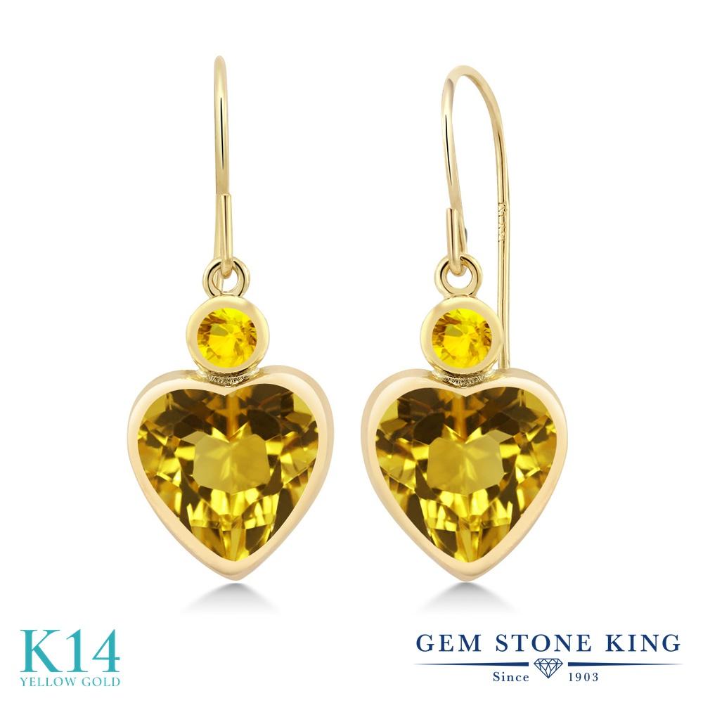 Gem Stone King 3.46カラット 天然 シトリン 天然 イエローサファイア 14金 イエローゴールド(K14) ピアス レディース 大粒 ぶら下がり フレンチワイヤー 天然石 11月 誕生石 金属アレルギー対応 誕生日プレゼント