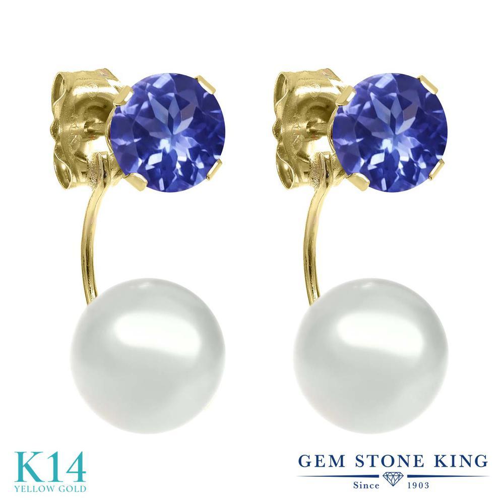 Gem Stone King クリーム 淡水養殖真珠 0.92カラット 天然石 タンザナイト 14金 イエローゴールド(K14) ピアス レディース パール 小粒 シンプル ぶら下がり 天然石 誕生石 金属アレルギー対応 誕生日プレゼント