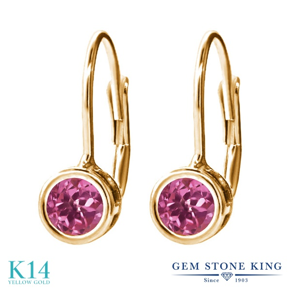 Gem Stone King 0.48カラット 天然 ピンクトルマリン 14金 イエローゴールド(K14) ピアス レディース 小粒 シンプル ぶら下がり レバーバック 天然石 10月 誕生石 金属アレルギー対応 誕生日プレゼント