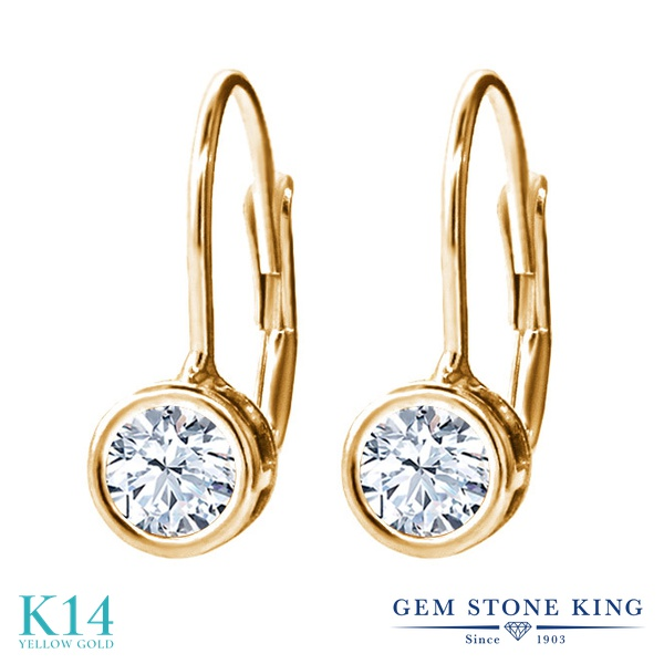 Gem Stone King 0.66カラット 天然トパーズ(無色透明) 14金 イエローゴールド(K14) ピアス レディース 小粒 シンプル ぶら下がり レバーバック 天然石 誕生石 金属アレルギー対応 誕生日プレゼント