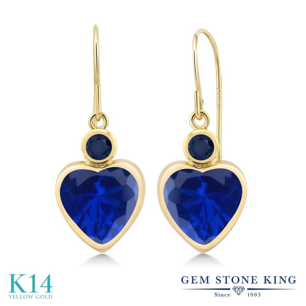 Gem Stone King 4.86カラット シミュレイテッド サファイア 天然 サファイア 14金 イエローゴールド(K14) ピアス レディース 大粒 ぶら下がり フレンチワイヤー 金属アレルギー対応 誕生日プレゼント