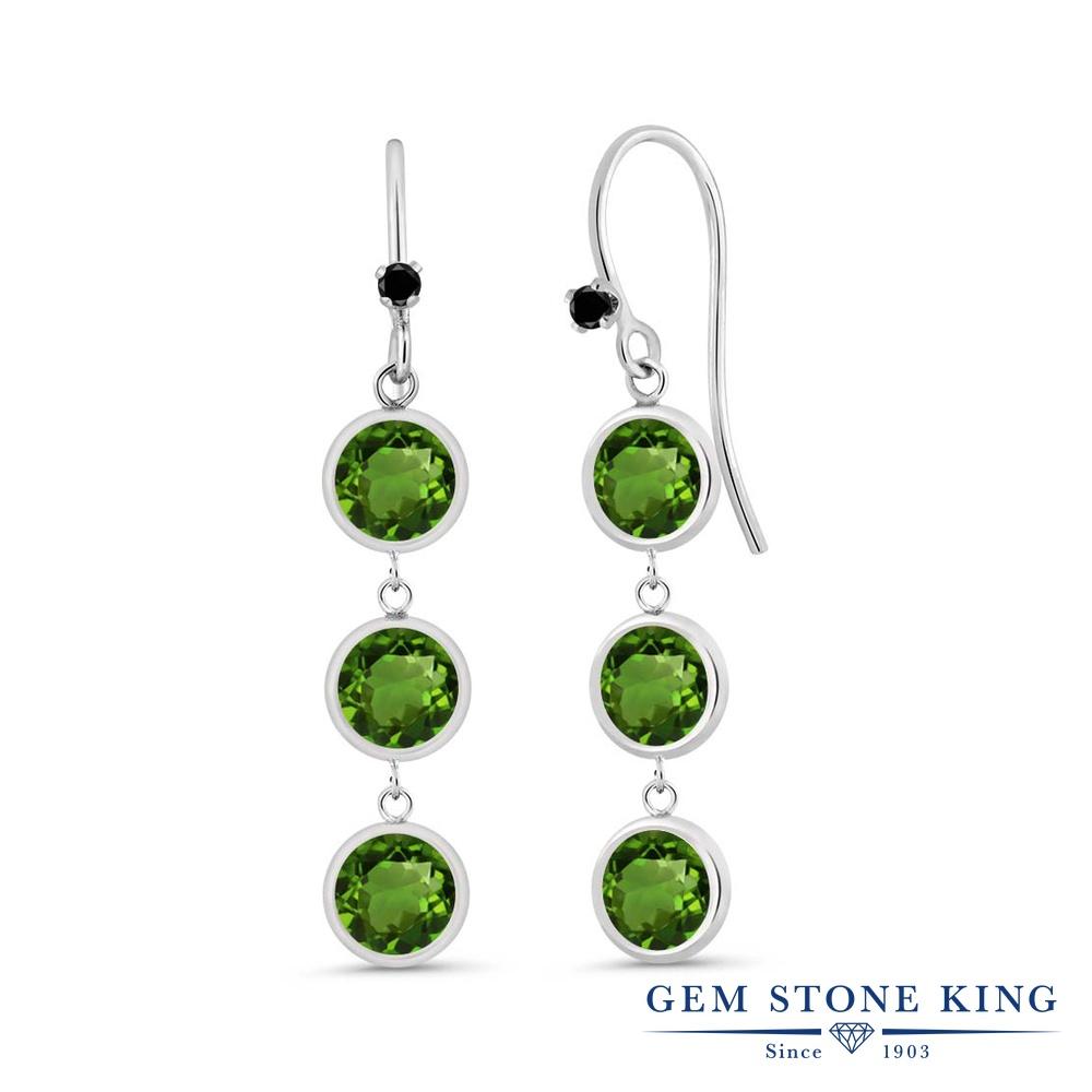 Gem Stone King 3.03カラット 天然クロムダイオプサイド シルバー925 天然ブラックダイヤモンド ピアス レディース 小粒 ぶら下がり フレンチワイヤー 天然石 金属アレルギー対応 誕生日プレゼント