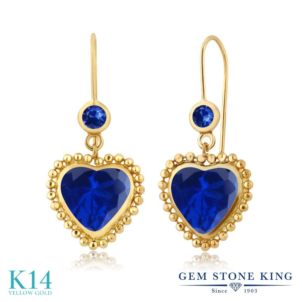 Gem Stone King 4.86カラット シミュレイテッド サファイア 天然 サファイア 14金 イエローゴールド(K14) ピアス レディース 大粒 ぶら下がり レバーバック 金属アレルギー対応 誕生日プレゼント