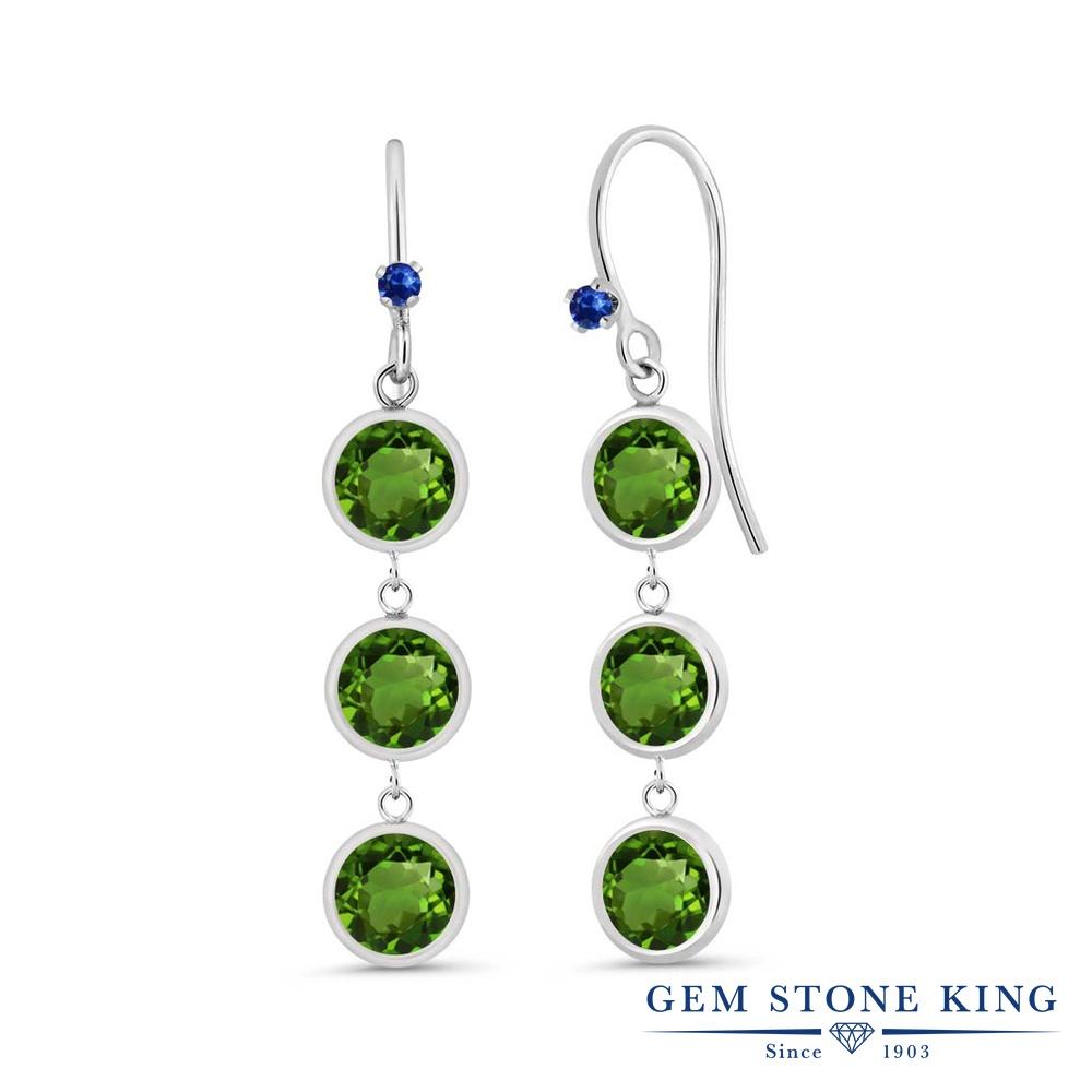 Gem Stone King 3.04カラット 天然クロムダイオプサイド 天然サファイア シルバー925 ピアス レディース 小粒 ぶら下がり フレンチワイヤー 天然石 金属アレルギー対応 誕生日プレゼント
