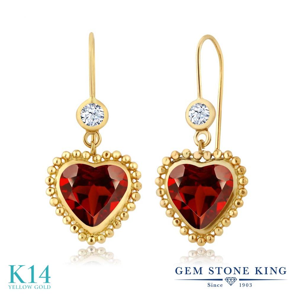 Gem Stone King 4.22カラット 天然 ガーネット 14金 イエローゴールド(K14) ピアス レディース 大粒 ぶら下がり レバーバック 天然石 1月 誕生石 金属アレルギー対応 誕生日プレゼント