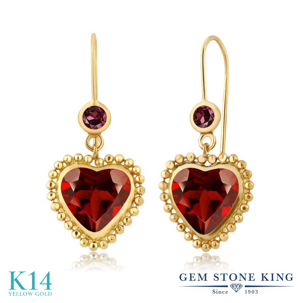 Gem Stone King 4.24カラット 天然 ガーネット 天然 ロードライトガーネット 14金 イエローゴールド(K14) ピアス レディース 大粒 ぶら下がり レバーバック 天然石 1月 誕生石 金属アレルギー対応 誕生日プレゼント