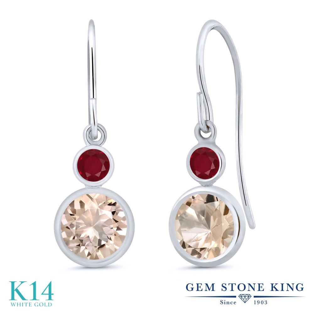 Gem Stone King 1.48カラット 天然 モルガナイト (ピーチ) 天然 ルビー 14金 ホワイトゴールド(K14) ピアス レディース ぶら下がり フレンチワイヤー 天然石 3月 誕生石 金属アレルギー対応 誕生日プレゼント