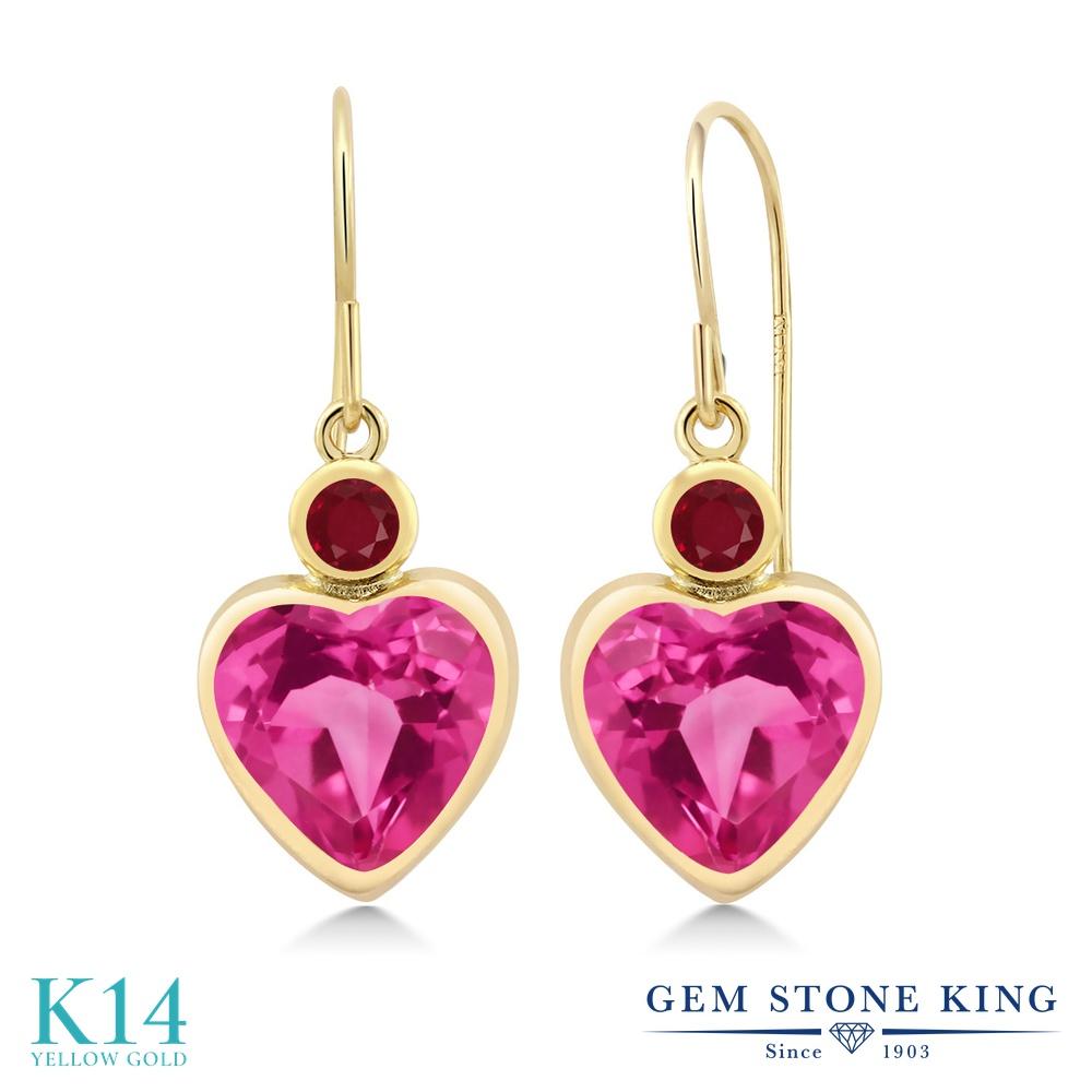 Gem Stone King 5.14カラット 合成ピンクサファイア 天然 ルビー 14金 イエローゴールド(K14) ピアス レディース 大粒 ぶら下がり フレンチワイヤー 金属アレルギー対応 誕生日プレゼント