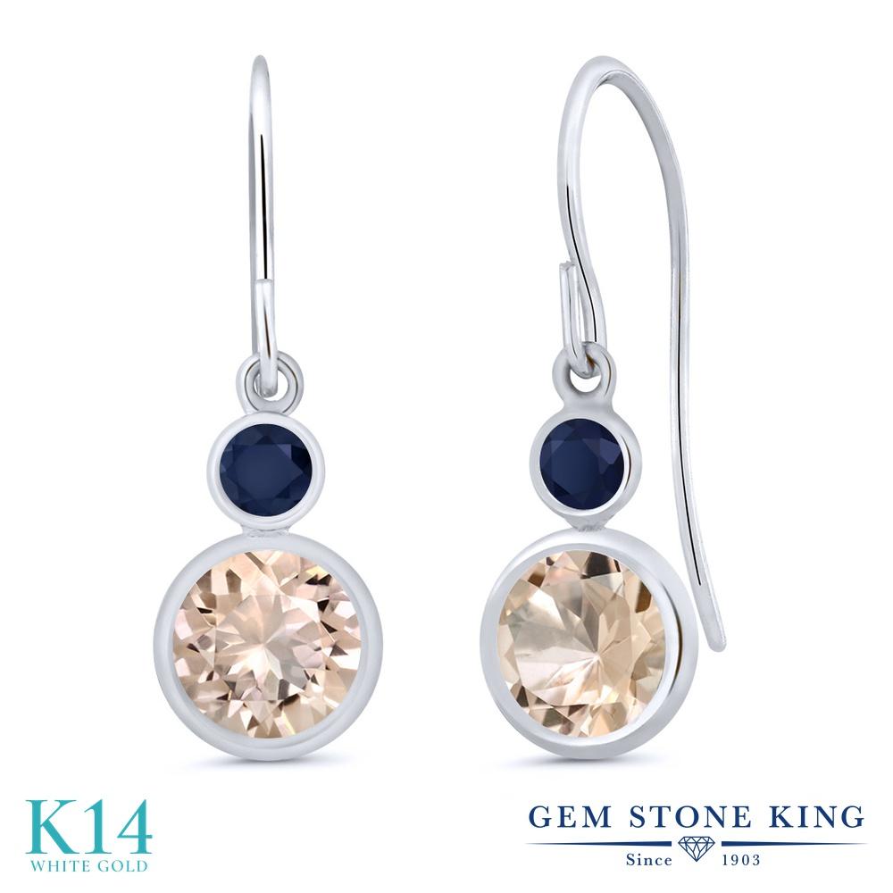 Gem Stone King 1.46カラット 天然 モルガナイト (ピーチ) 天然 サファイア 14金 ホワイトゴールド(K14) ピアス レディース ぶら下がり フレンチワイヤー 天然石 3月 誕生石 金属アレルギー対応 誕生日プレゼント