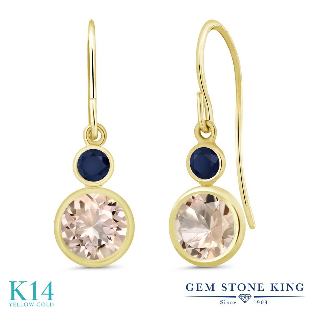 Gem Stone King 1.46カラット 天然 モルガナイト (ピーチ) 天然 サファイア 14金 イエローゴールド(K14) ピアス レディース ぶら下がり フレンチワイヤー 天然石 3月 誕生石 金属アレルギー対応 誕生日プレゼント